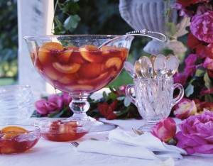 Peach Dessert in a Punch Bowl