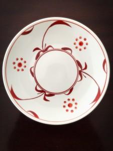 8寸丸皿 赤太陽-1